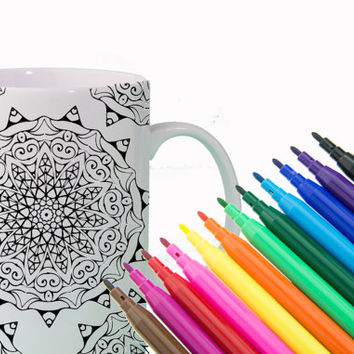 CREATIVITY Mandala Mug DIY Color Your Own Mandala Positive Affirmation Mug - Fun Gift for Sister, Gift for Friend Gift for Coworker