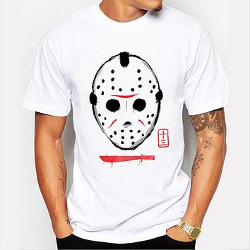 Summer men's jackets mask pattern printing all-match Top Casual T-shirt
