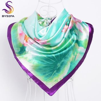 Cachecois Women Purple Green Silk Scarf Wrap Shawl New Design Fresh Lotus Pattern Wraps Scarves Spring 90cm Satin Head Scarf