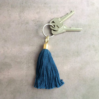 Blue Tassel Keychain // Boho Tassel Key Chain // Key Chains for Women // Personalized Keychain // Cute Keychain K016 by Indigo Lunch