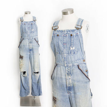 "Vintage 1960s Overalls - Big Mac Square Bak Hand Embroidered Hippie Distressed Denim Workwear 29""x29"" Small"