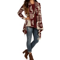 Sale-burgundy Tribal Hipster Cardigan