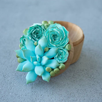Blue Succulent Ring Box Bearer Case Wooden Round Decorated Engagement Ring Holder Marriage Offer Ring Case Birthday Gift Home Decor
