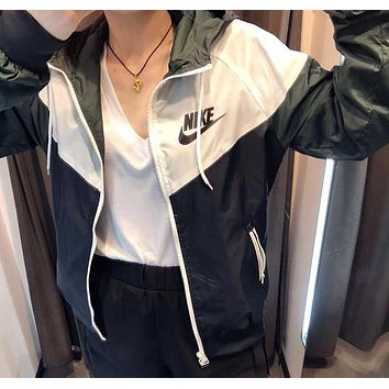 NIKE Women Fashion Hoodie Windbreaker Cardigan Jacket Coat