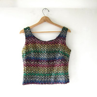 Vintage sequins tank top • colorful sparkly sleeveless top