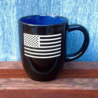 Colorful Coffee Mug with American Flag, Deep Etched
