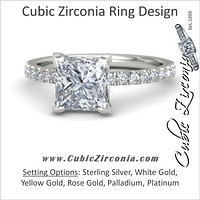 Cubic Zirconia Engagement Ring- The ________ Naming Rights 1240 (1.18 TCW Petite Princess Cut with Round Accents)