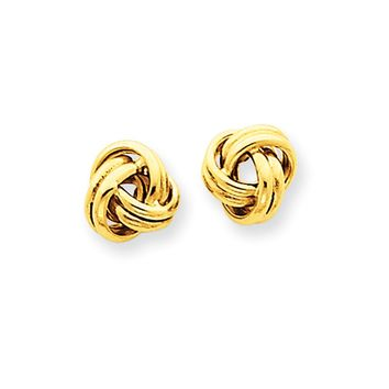7mm Grooved Love Knot Post Earrings in 14k Yellow Gold