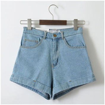 Summer Style High Waisted Denim Shorts For Women Jeans Denim Shorts Crimping Retro Blue Jeans Women's Shorts Plus Size Trousers