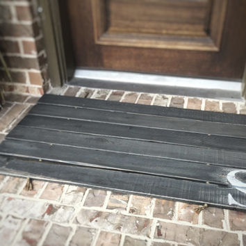 Doormat, Wood,  Oversized - Monogram, Custom Distressed Finishes: 2-TONE DARK GREY shown - Free Shipping