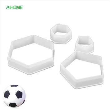 4pcs/set Football Hexagon Shaped Cake Decorations Cookie Cutters FDA Grade BPA Free Plastic Cake Cutters Bicuit Mold Cake Tools