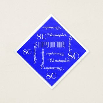 Royal Blue 80th Birthday Party Repeat Names, Paper Paper Napkin