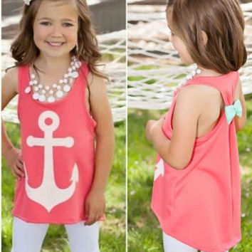 Fashion Kids Girls Summer Anchor Vest Top Sleeveless Casual Tank Tops T-Shirt = 1956867588