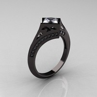 Modern 14K Black Gold 1.23 CT Cubic Zirconia Diamond Engagement Ring R176-14KBGDCZ