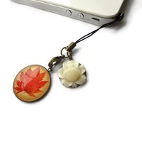 Autumn Leaf Cream Ivory Flower Iphone Dust Plug Cell Phone Strap