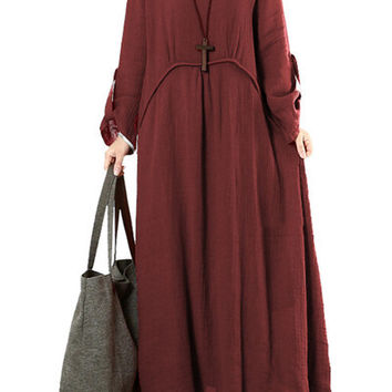Burgundy Long Sleeve Loose Fit Maxi Dress