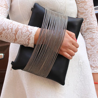 Women Leather  Black Clutch Handbag With Chain