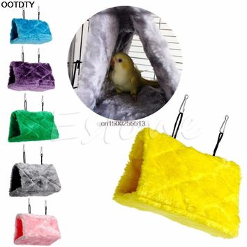 Plush Bird Parrot Hammock Hanging Cave Cage Snuggle Happy Hut Tent Bed Bunk Toy