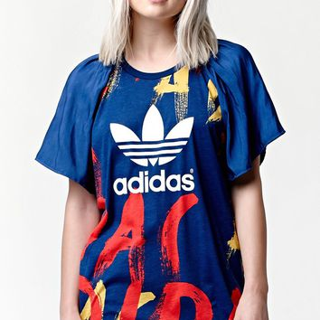 Adidas Paris Print Soft Sleeve T-Shirt - Womens Tee - Multi
