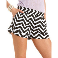 Pleated Chevron Stripe Short: Charlotte Russe
