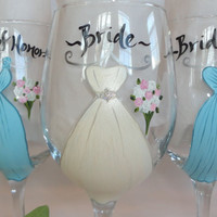 Personalized Hand Painted Bridesmaid Dress Wine Glasses -  CUSTOM DRESS STYLE and Color Match