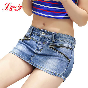 Denim Skort Shorts For Women 2016 Summer New Arrival Double Zipper Fashion Sexy Woman Jean Shorts Skirt Plus Size S-3XL