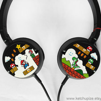 Super Mario Headphones earphones hand painted  Yoshi by ketchupize