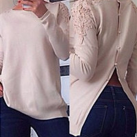 White Lace Long Sleeve Knitted Blouse