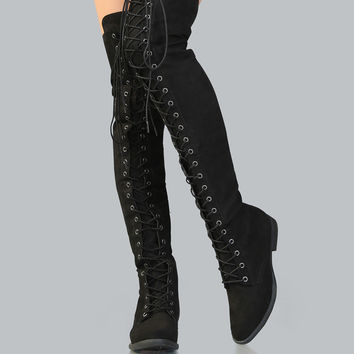 Lace Up Faux Suede Thigh High Boots BLACK | MakeMeChic.COM