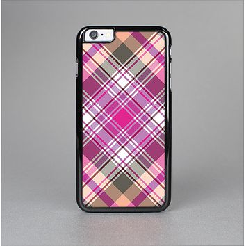 The Gray & Bright Pink Plaid Layered Pattern V5 Skin-Sert for the Apple iPhone 6 Plus Skin-Sert Case