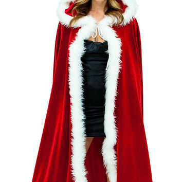 Red Velvet Christmas Hooded Cape Costume