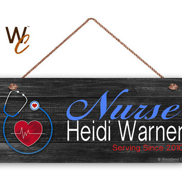 "Hero Sign, Custom Nurse Sign, Red White Blue, Personalized 6""x14"" Sign, Custom Name & Date, Nursing Sign, Gift For Nurse, Made To Order"