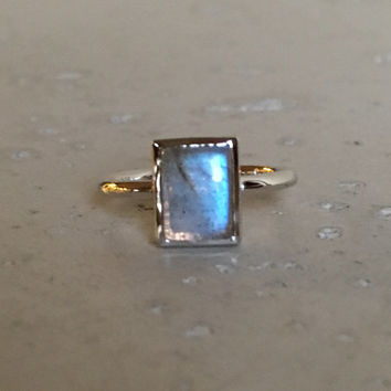 Rectangle Labradorite Ring- Boho Ring- Stackable Ring- Promise Ring- Sterling Silver Ring- Bohemian Ring-Smooth Ring- Rings for her