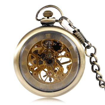 New Unique Bronze Skeleton Gear Mechanical Hand Wind Pocket Watch Men Ladies Fob Clock With Chain Christmas Gift