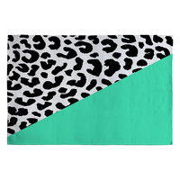 Rebecca Allen Leopard And Mint Woven Rug