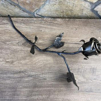 Metal sculpture, iron anniversary gift for her, steam punk, iron gift for her, iron gifts, iron rose, wedding anniversary, anniversary gift