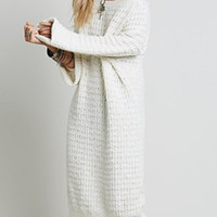 White Long Sleeve Longline Sweater Dress