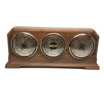 Vintage Wooden Barometer Handcrafted by Carl D Stahl, Mantel Thermometer, Made in France