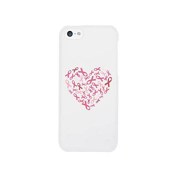 Pink Ribbon Heart White Phone Case