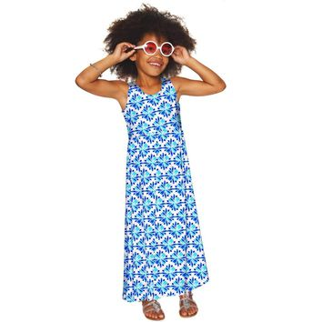 Charisma Bella White & Blue Summer Empire Waist Maxi Dress - Girls