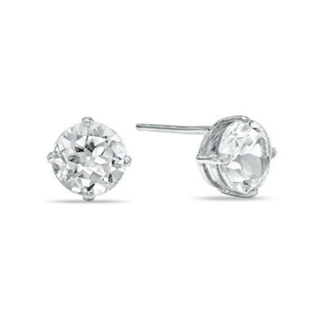 6.0mm Lab-Created White Sapphire Stud Earrings in Sterling Silver