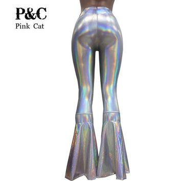 CREYCI7 vintage Leggings Clothing Women Silver Holographic Flare Bell Bottom Pants  Leggings Rave Festival Clothes Outfits