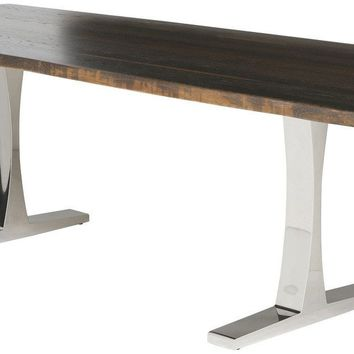 Adhelm Dining Table in Seared Oak Stainless steel legs