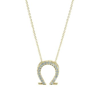 Shea CZ Horseshoe Gold Pendant Necklace