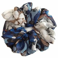 Blue Gray Scrunchies for Hair Large Chiffon Tropical Accessories Headband Ponytail Holder Teen Girls Women