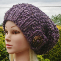 Hand Knit hat- Women's hat- Purple tweed Slouchy- beanie hat with big coconut button- winter hat- Rustic Mega Chunky with wool