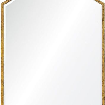 Quick Overview:Distressed Gold Leaf Iron Mirror