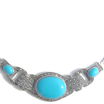 Marcasite with Turquoise Silver Necklace