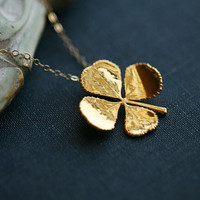 Real four leaf clover necklace in 24k Gold,14k Gold Filled necklace,Real leaf,Jewelry,St Patricks Day Jewelry,Mother's Jewelry,
