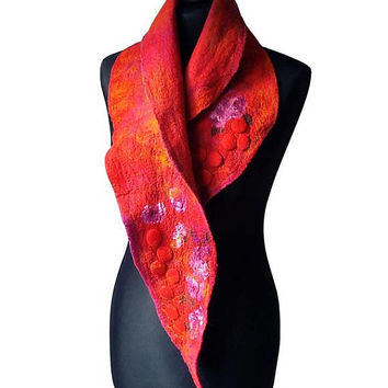 Nuno Felted Collar Nuno Felted Scarf Felted Silk scarf Neck Warmer collar Red Orange Purple Hand Felted Shawl Art to wear Women's Gift OOAK
